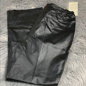 Vintage black leather pants women's 16